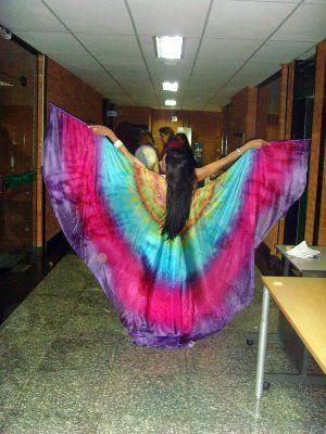 Véu Wings de Seda para Dança do Ventre