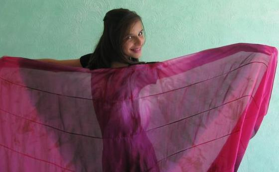 Véu de Seda Patchwork para Dança do Ventre