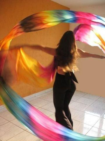 Véu de Seda Ribbon para Dança do Ventre
