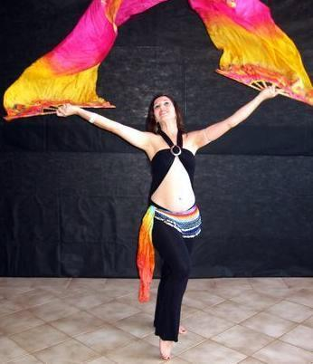 Véu Leque (Fan) de Seda para Dança do Ventre